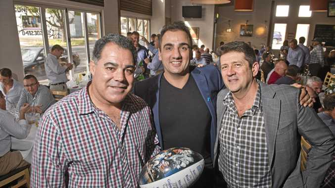 SPORTS TALK: Enjoying themselves at The Spotted Cow Sports Lunch are (from left) Mal Meninga, Phil Coorey and Michael McNab.
