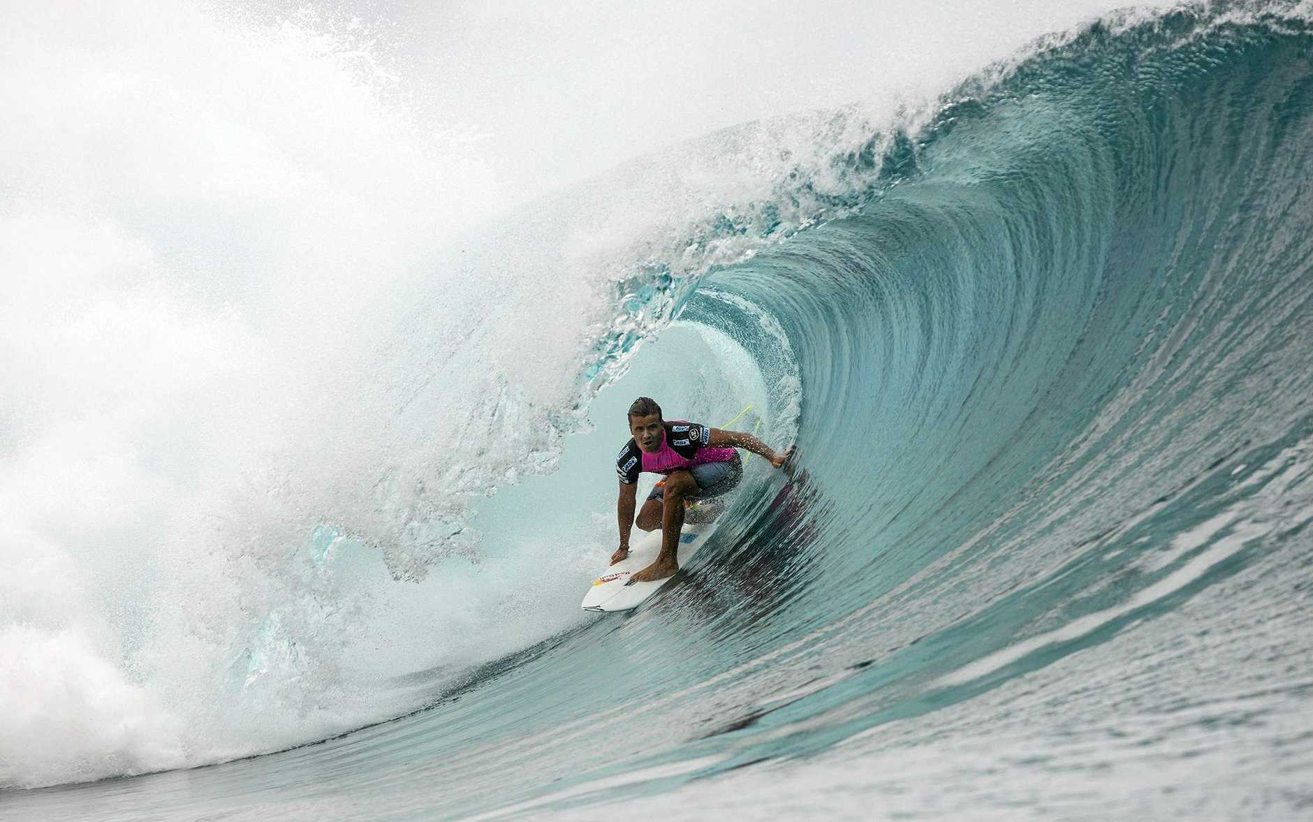 AT CHOPES: Julian Wilson in action during the Billabong Pro in Tahiti in 2013.