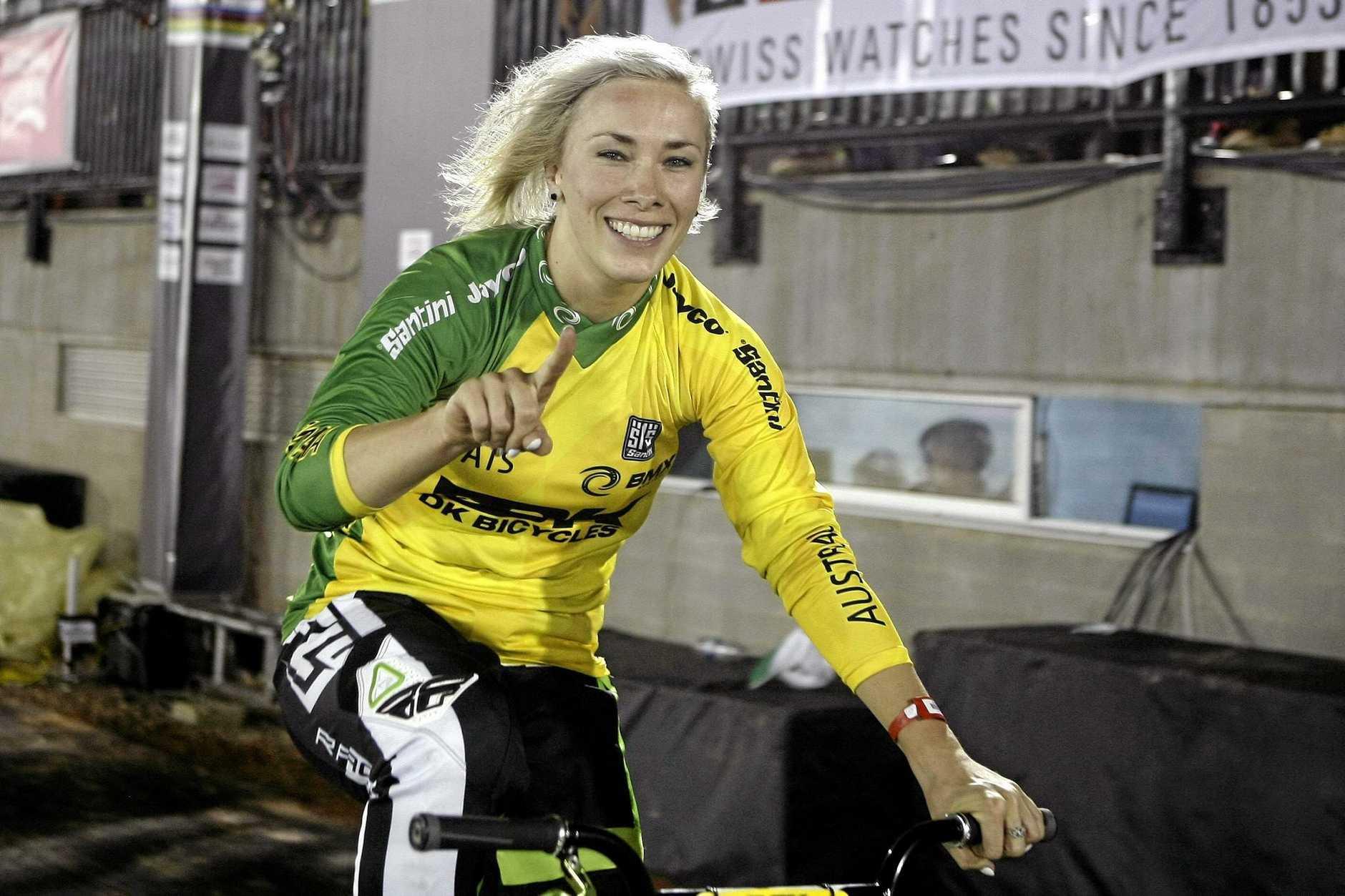 SAFELY THROUGH: Australian BMX rider Caroline Buchanan is into the semis in Rio.