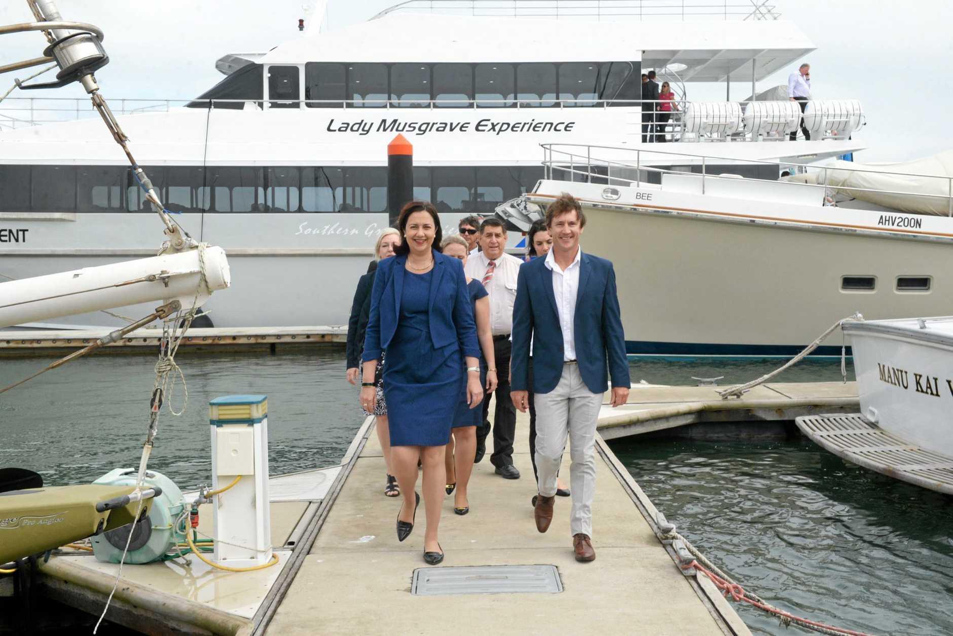 THE PLAN: Queensland premier Annastacia Palaszczuk visiting the Port of Bundaberg.