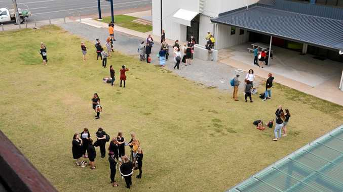QUAKE: Students and staff evacuated at the CQ University city campus