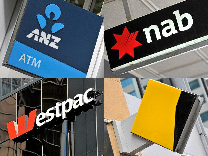 A composite image of signage of Australia's 'big four' banks ANZ, Westpac, the Commonwealth Bank (CBA) and the National Australia Bank (NAB) signage in Sydney, Friday, Oct. 23, 2015. (AAP Image/Joel Carrett) NO ARCHIVING