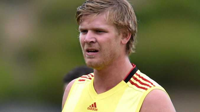 STAYING PUT: Michael Hurley trains at Essendon's training centre last year.