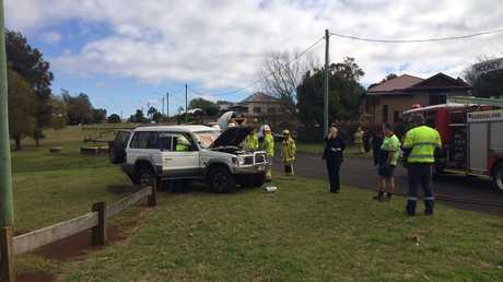 The scene of a collision between a 4WD and concrete truck.