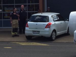 WATCH: Cars crash outside fire station
