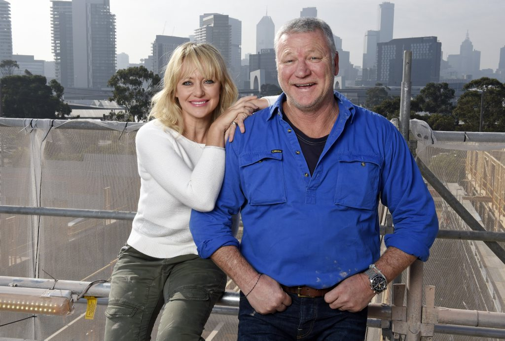 Shelley Craft and Scott Cam pictured on the rooftop of The Block in Port Melbourne.