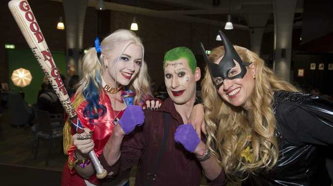 Hosts of the event (from left) Kristy Hopwood, Cameron Hillier and Amanda Lewis at the Marvel DC Superheroes event at Uni Bar USQ, Friday, August 12, 2016.