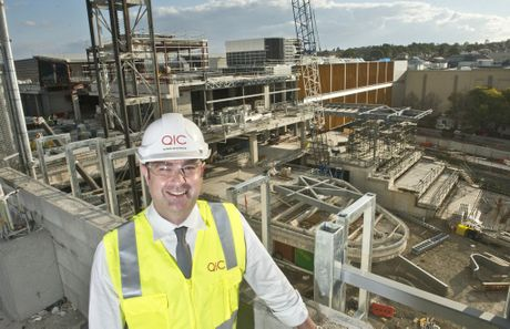 Grand Central Shopping Centre manager Shaine Beveridge overlooks Stage 2 of construction.