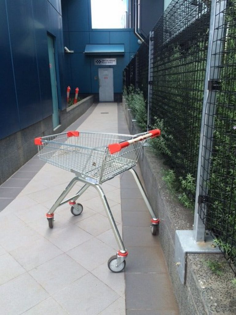 A wayward trolley outside the Toowoomba Police Station watch house.