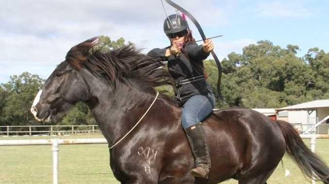Mounted archer Hayley Chambers-Holt helped establish Queensland's first horseback archery club, the Flying Fletches Queensland.
