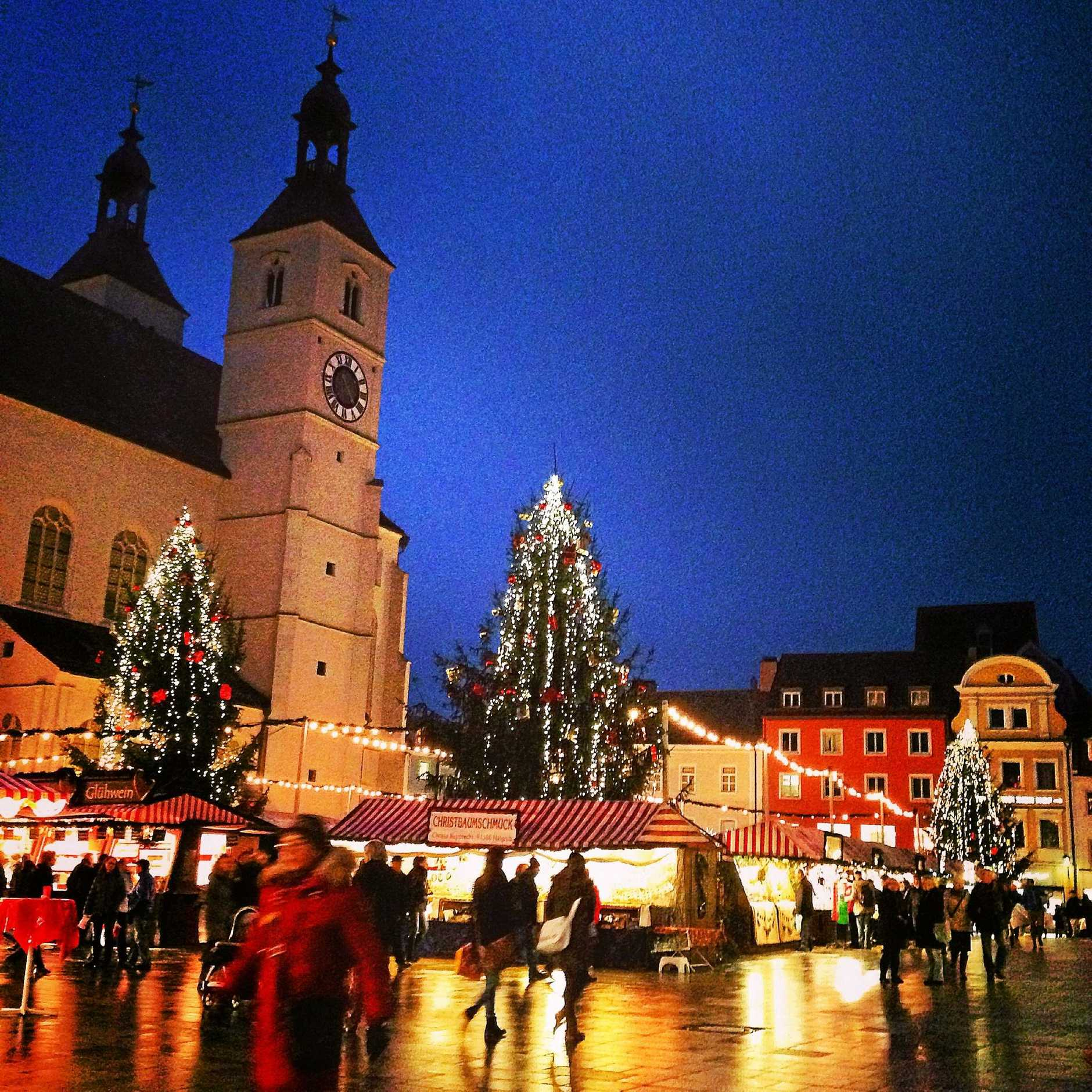 Regensburg's Christmas Market is worth a visit at night.