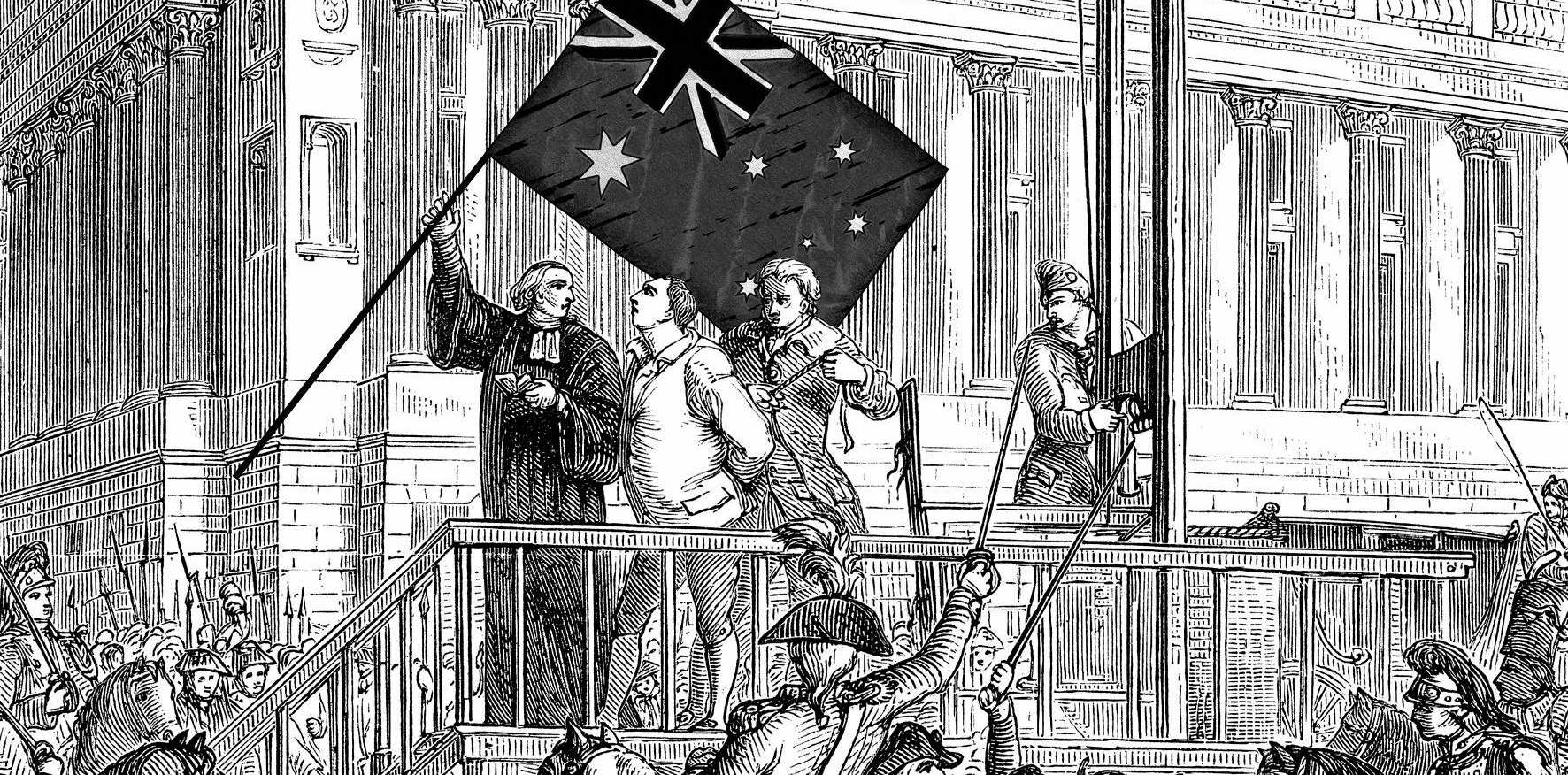 An illustration showing the execution by guillotine of King Louis XVI during the French Revolution.