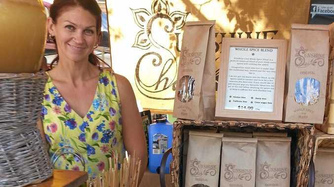 Lisa Skrokov in her chai stall at the Eumundi Markets.