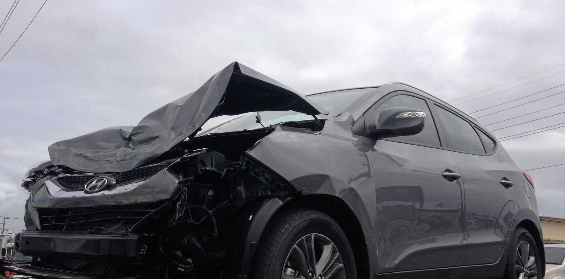 A Hyundai SUV after being involved in a road traffic crash at the corner of Victoria and Tennyson Sts in Mackay.