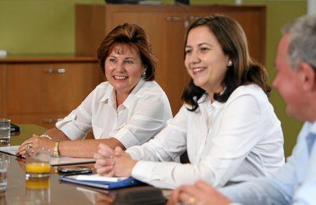 HAPPIER TIMES: Premier Annastacia Palaszczuk and Bundamba MP Jo-Ann Miller at a caucus meeting in Ipswich.
