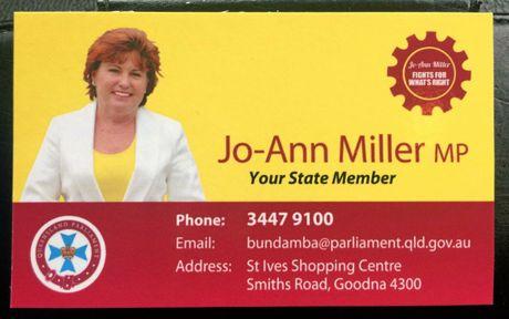 Jo-Ann Miller's new business card.