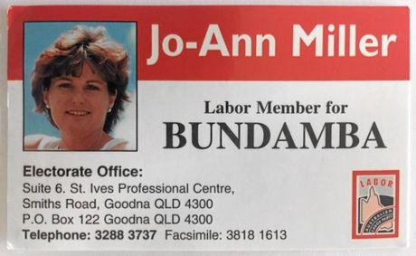 Jo-Ann Miller's old business card