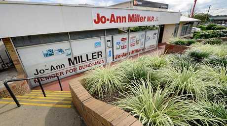 Member for Bundamba Jo-Ann Miller has no Labor signage on her Goodna electorate office.
