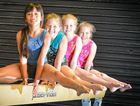 BALANCING ACT: Competing at the Gladstone invitational on Saturday and Sunday are Alice Chaiyo, 9, Kirra Seage, Elena Jones and Jasmine Veach.