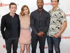 Miles Teller, far right, with his Fantastic Four castmates.