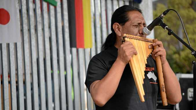 Mario Conde performs on the pan pipes during the final day of the 2015 Delicious and Delightful festival.