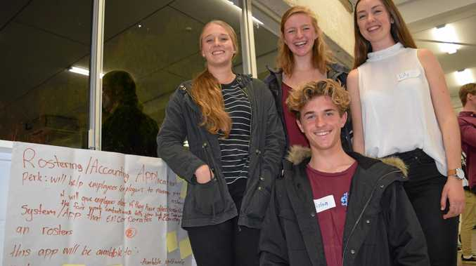 BUSY WEEKEND: Christine Sugar, 16, Tristan Allisan, 14, Dana Summer, 16 and Lily Hamer, 17, are this weekend part of a group of youngsters working on ideas for new businesses as part of Startup Weekend for Youth, at Spark Bureau in Maroochydore. It runs until Sunday afternoon.