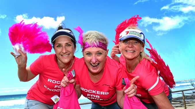 Rockers for Knockers ladies Colleen McMillan, Ruth D'Hennin and Gaye Ottogalli.  Photo: John McCutcheon / Sunshine Coast Daily