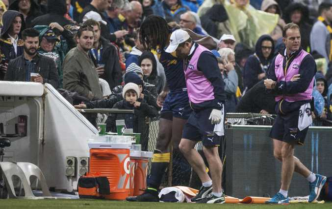 Nic Naitanui limbs from Domain Stadium in Perth.