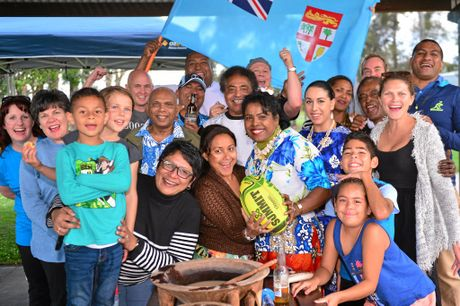 Buka Sokovagone and Rita Lal celebrate Fiji's triumph at the Olympics with friends and family.  Photo: John McCutcheon / Sunshine Coast Daily