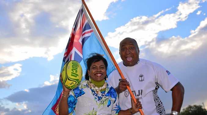 BULA: Buka Sokovagone and Rita Lal celebrate Fiji's triumph at the Olympics.