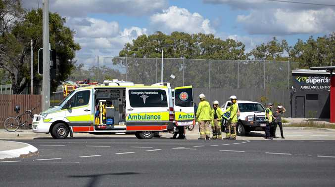 A nine-year-old boy was taken to Gladstone Hospital after crashing his bike into a car.