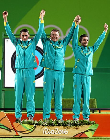 RIO DE JANEIRO, BRAZIL - AUGUST 06:  (L-R) Alec Potts, Ryan Tyack and Taylor Worth of Australia celebrate with their Bronze Medals after finishing third during the Men's Team Final match on Day 1 of the Rio 2016 Olympic Games at the Sambodromo on August 6, 2016 in Rio de Janeiro, Brazil.  (Photo by Paul Gilham/Getty Images)