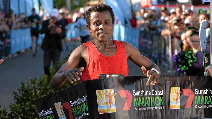 DEFENDED HIS TITLE: Sunshine Coast Marathon winner, Ethiopia's Samuel Woldeamanuel.