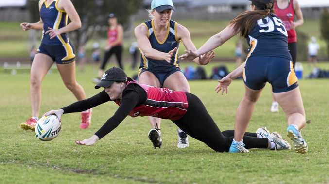 CLOSE CALL: Jess Brown makes an unsuccessful dive for the Roosters try line against Fairholme in Toowoomba Touch semi-finals.