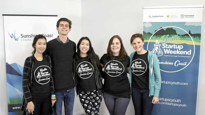 WINNERS: Local high school students Dakota O'Shea, Brayden Munro, Jacinta O'Shea, Tanya Ann Petersen and Kyra Bellamy won this year's Youth Startup Weekend Sunshine Coast with their business idea, QuickGig.