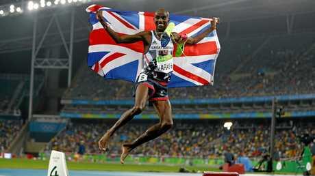 Mo Farah celebrates his second gold medal.