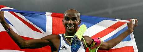 Mo Farah celebrates his second gold medal.