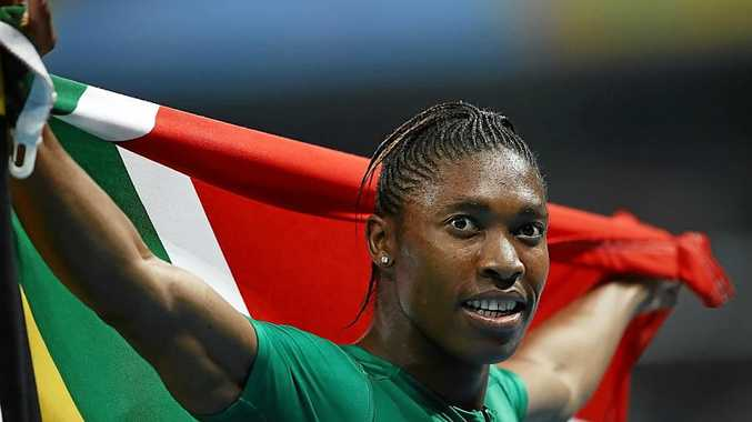 Caster Semenya of South Africa reacts after winning gold in the women's 800 meter final.
