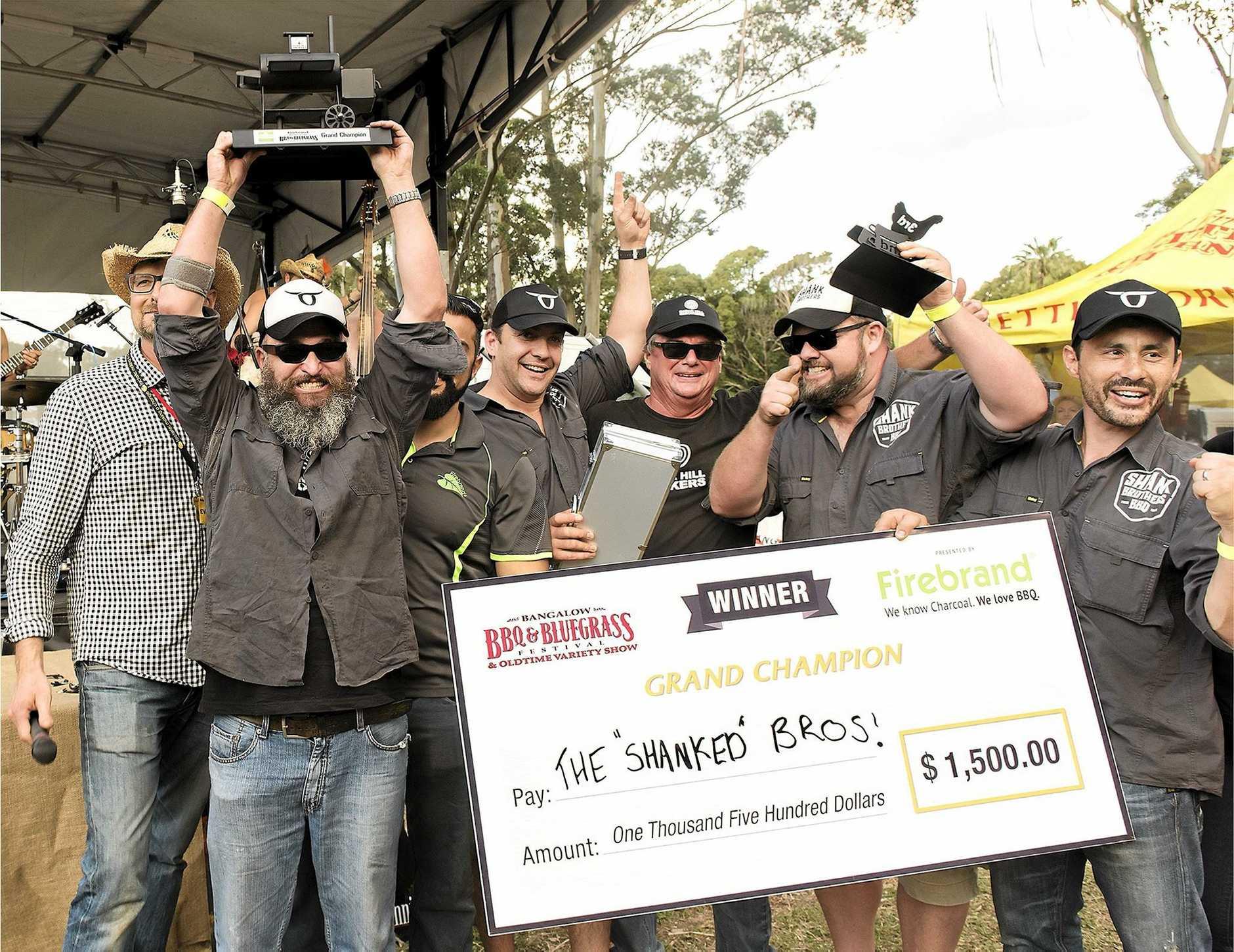 CHAMPIONS: The Shanked Brothers BBQ won the $1500 Firebrand BBQ Grand Championship.
