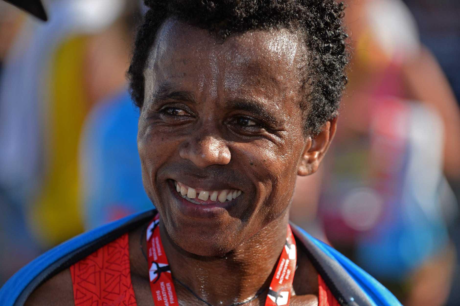 CHAMP: Samuel Woldeamanuel defended his title in the Sunshine Coast Marathon.