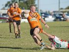 Kahl Schemioneck, Souths tackled by Danes Cameron Millar. Pittsworth vs Souths, Madsen Rasmussen Cup played at Pittsworth. Saturday Aug 20 , 2016.