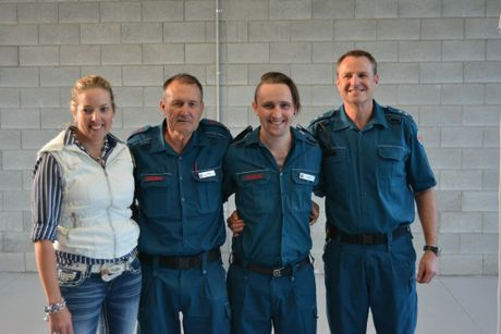 Geoff Stower (second from left) at his Pittsworth retirement event after almost 37 years at the QAS as a paramedic, joined by staff at the station Casey James (OIC), Chris and Blair.