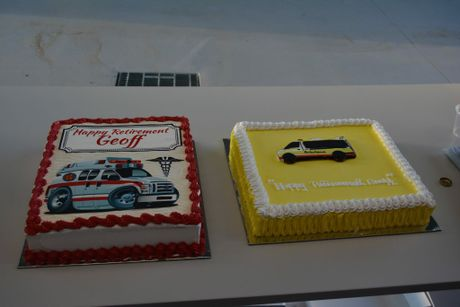 Geoff Stower's retirement cakes.