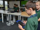 IN CONTROL: Connor Wallis directs the Drone with coding on an IPad at St Lukes School Bundaberg.Photo: Paul Donaldson / NewsMail