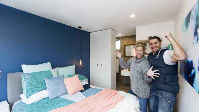 Kim and Chris pictured in their pod challenge room on The Block.