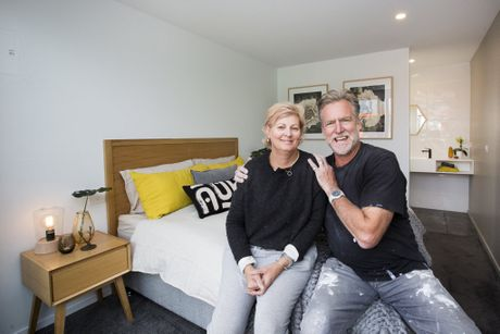 Dan and Carleen pictured in their pod challenge room on The Block.