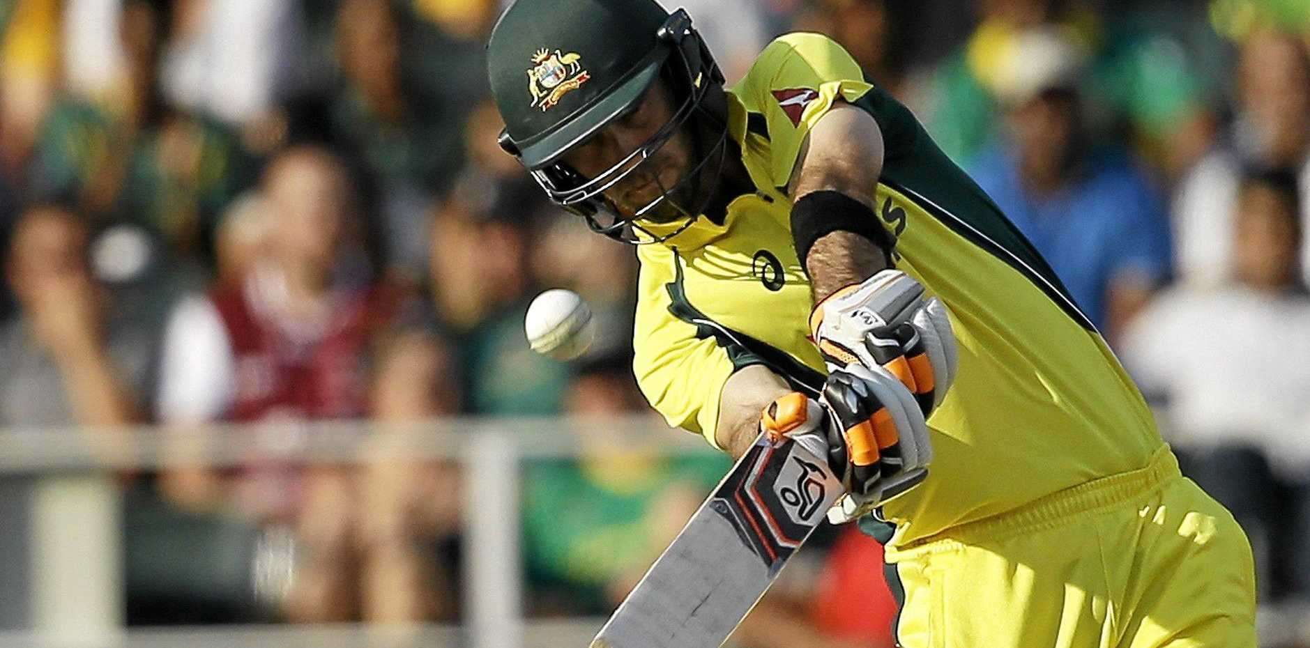 Australian batsman Glenn Maxwell (in action during the T20 series in South Africa) will be batting at Harrup Park on Wednesday.
