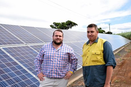 OFF THE GRID: Gem Energy's Jack Hooper and farmer Jason Griffin at the Griffin farm in Bargara.