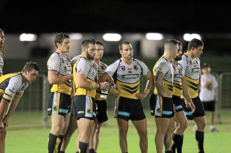 DARK DAYS: The Falcons stand dejected behind the try line after conceding more points.