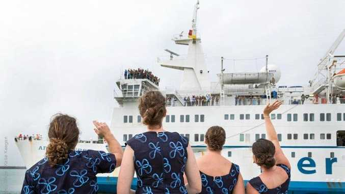 WELCOME: The Mercy Ships advance team welcomes the Africa Mercy to Cotonou, Benin.